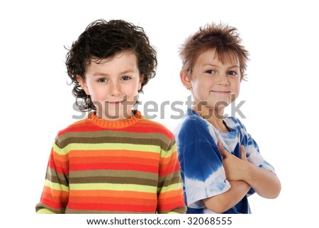 Funny couple of children on a over white background
