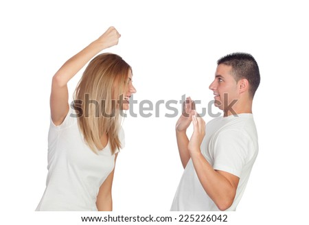 Funny couple simulating a discussion isolated on a white background - stock photo