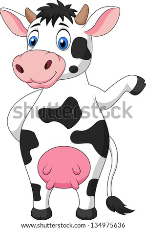 Funny cow waving hand
