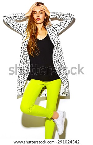 Funny crazy glamor stylish sexy  smiling beautiful blond young  woman model in summer bright hipster yellow cloth - stock photo