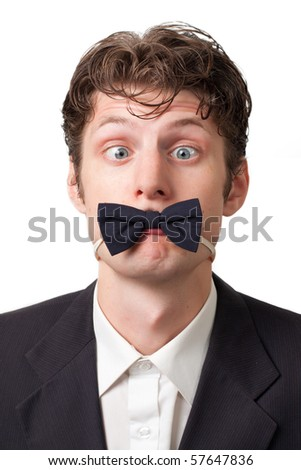 funny crazy goggle-eyed man with a butterfly tie goggle-eyed on a white background