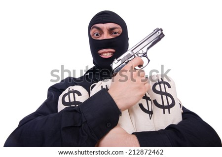 Funny criminal with gun isolated on white - stock photo