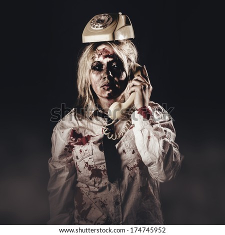 Funny customer service depiction of unhelpful telemarketing with a center clerk looking like death, making a unfriendly telesales call with phone on head
