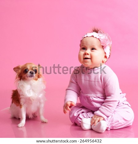 Funny cute baby girl playing with chihuahua over pink. Child laughing in room. Childhood.  - stock photo