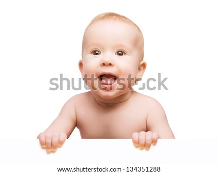 funny cute baby with white blank banner in hand isolated