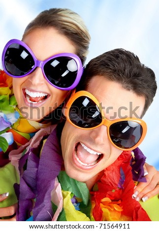 Funny cute couple with huge eyeglasses - stock photo