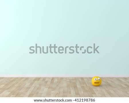 funny cute face  toy in room 3d image - stock photo