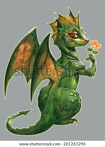 Funny cute green dragon with a flower - stock photo