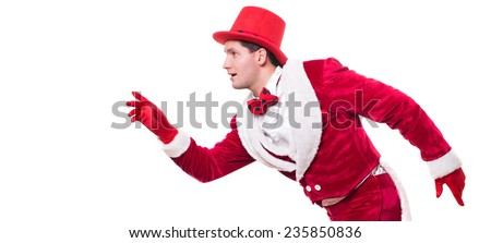 Funny cute man. circus actor. red tails. cylinder hat. Santa suit. - stock photo
