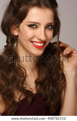 funny cute smiling woman on background