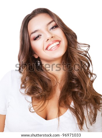 funny cute smiling woman on white background - stock photo