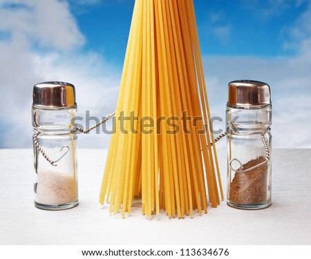 funny cutlery salt shaker and pepper with pasta - stock photo