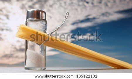 funny cutlery salt shaker with pasta - stock photo