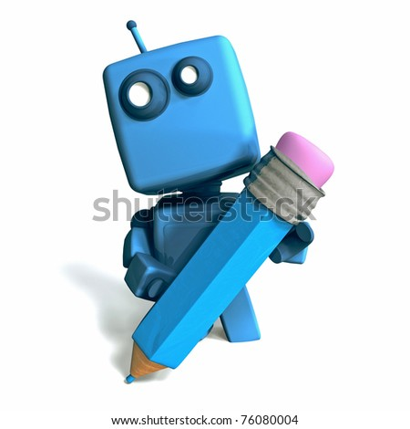 Funny 3D blue Robot with pencil on white background - stock photo