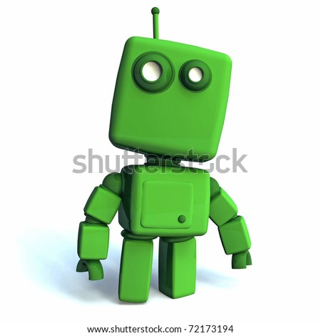 Funny 3D green Robot on white background - stock photo