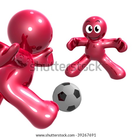 Funny 3d icon playing soccer ball sport