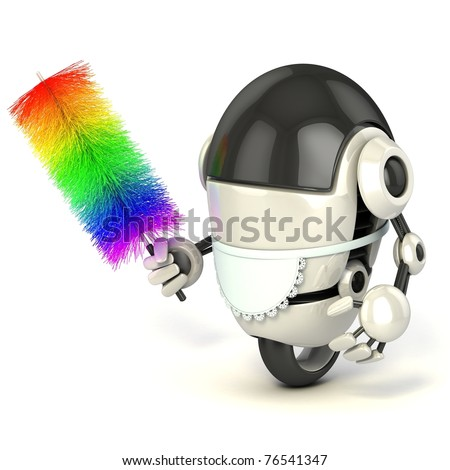 funny 3d robot in the maid uniform holding the feather duster isolated on the white background - stock photo
