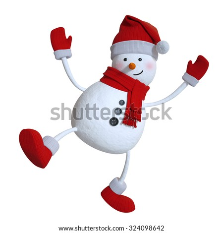 funny dancing snowman, Christmas 3d illustration - stock photo