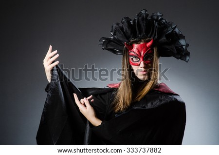 Funny deveil in halloween concept - stock photo