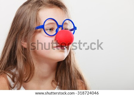 Funny disguise for little girl. Prepare to have fun - stock photo