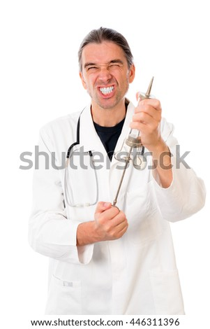 funny doctor with a big injection in white lab coat