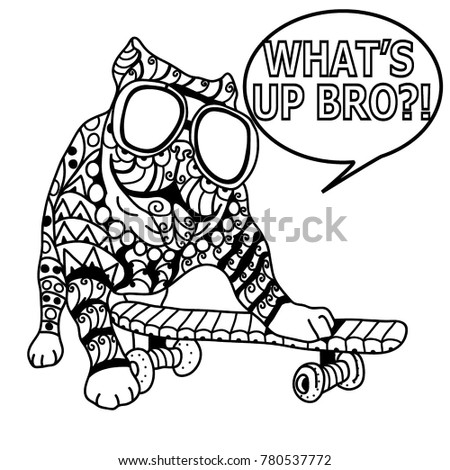 Funny Dog With Glasses On Coloring Page