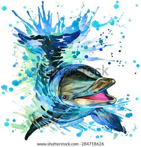 Funny dolphin T-shirt graphics, dolphin illustration with splash watercolor textured background. illustration watercolor dolphin fashion print, poster for textiles, fashion design - stock photo