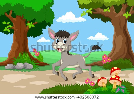 Funny donkey with a background of a beautiful garden  - stock photo