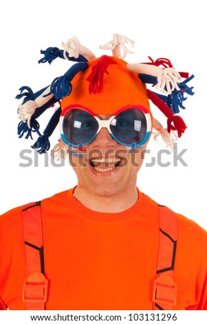 Funny Dutch orange soccer supporter isolated over white background - stock photo