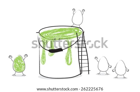 Funny Easter eggs with paint in the bucket - stock photo