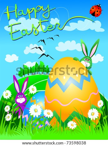 Funny Easter rabbits with egg and spring landscape