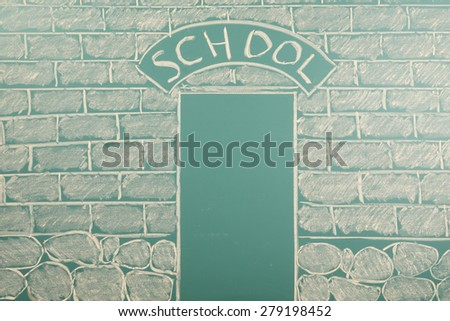 Funny education concept with chalk drawing of school - stock photo
