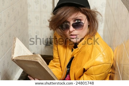 Funny eighties fashion metaphor, rebel student on the bath - stock photo