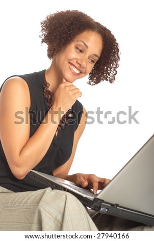 Funny expresion on a working woman's face - stock photo