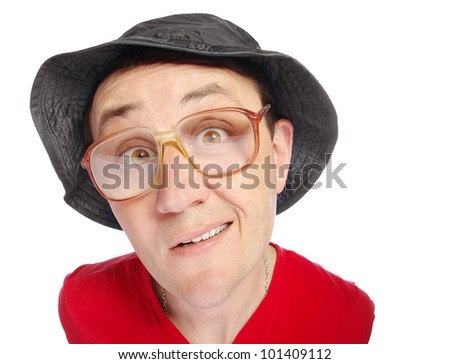 Funny face.  Man trying to ask. - stock photo