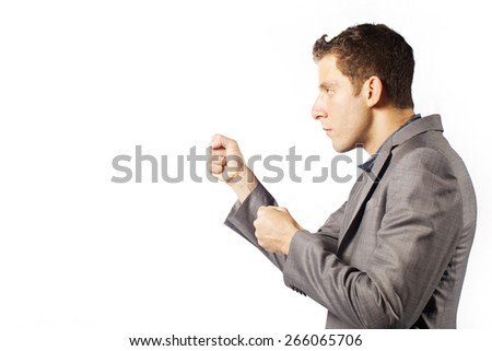 funny  face man  with copy space on white background to fight - stock photo