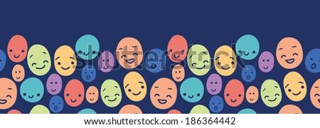 Funny faces horizontal seamless pattern background border raster - stock photo
