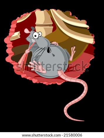 funny fat rat is eating someone from inside - stock photo