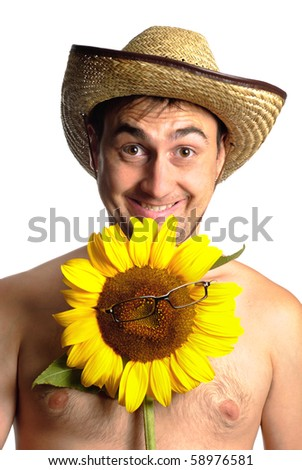 Funny fermer in stetson with sunflower in glasses isolated on white - stock photo