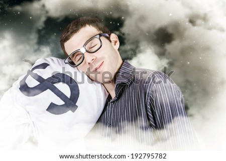 Funny finance portrait of a business person sleeping on a money bag in a cloudy haze of stars and sky. Investment security - stock photo