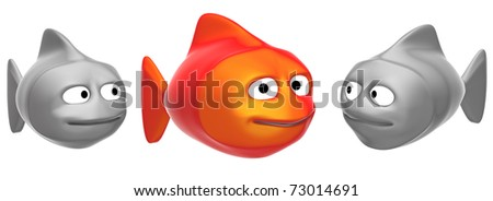 funny fishes, 3d render isolated on white - stock photo