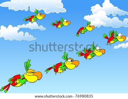 Funny flying parrots in the blue sky. - stock photo