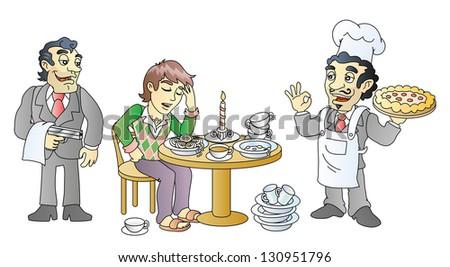 Funny food taster. Italian kitchen. Mafia pizza.  Raster version, vector file also included in the portfolio. - stock photo