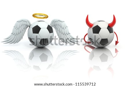 funny football 3d concept - angel and devil soccer balls