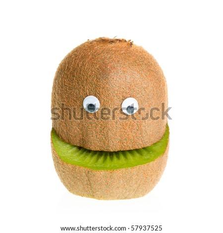 Funny fruit  character kiwi on white background - stock photo