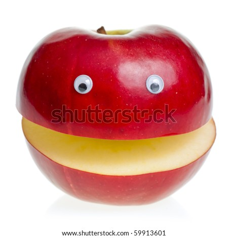 Funny fruit character Red Apple on white background - stock photo