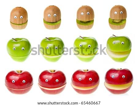 Funny fruit  characters kiwi and apple on white background - stock photo