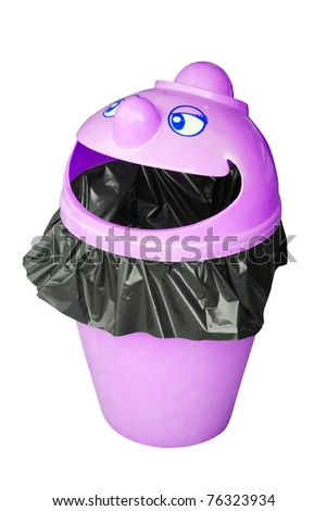 Funny garbage bin - stock photo