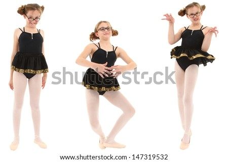 Funny geeky ballerina in three poses. Clipping path over white. - stock photo