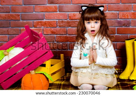 funny girl child surprised - stock photo